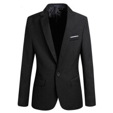 Farfi Men Slim Fit Formal One Button Suit Blazer Jacket