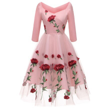Xi Diao Women Embroidery Long Sleeve Dress