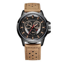 Hannah Martin Men Leather Strap Breatherbale Sport Watch