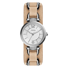 Fossil ES3854 Georgia Artisan White Dial Sand Leather Quartz Leather Strap [ES3854]