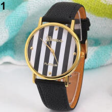 Farfi Women Men Geneva Vertical Stripes Round Dial Analog Quartz Wrist Watch Gift