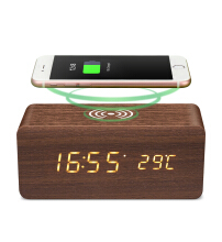 Digoo DG-AC80 LED 12/24 Hour Adjustable Display Wooden Clock Wirless Charging Voice Control Alarm Cl