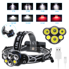 Boruit 2*T6+2*XPE+2*COB 6 LED MICRO USB Headlamp Headlight Head Torch Lamp  Riding  adventure Camping mountain climbing