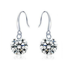 Farfi Women Silver Plated Fashion Drop Hook Round Dangle CZ Cubic Zirconia Earrings