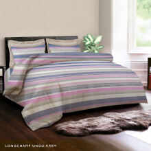 KING RABBIT Bedcover Single Motif Longchamp -Ungu/ 140 x 230cm Purple