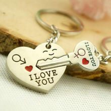 Farfi Romantic Couple Keychain Keyring Keyfob Valentine's Day Lover Gift Heart Key Set as the pictures