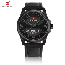 NAVIFORCE Luxury Brand Men Watches Quartz Date Clock Leather Waterproof Sports Watch 9124