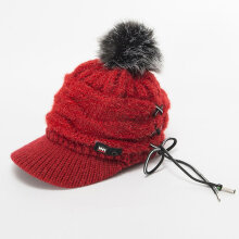 Female Knit Wool Cap Winter Solid Cashmere Ski Hats Real Raccoon Fur Pom Pom