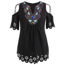 WEDO Plus Size Open Shoulder Cutwork Embroidery Blouse Half Sleeve V-Neck Casual Black XL