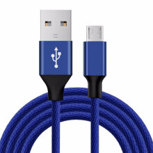 [kingstore] Flexible Micro USB Charger Cable Nylon Braided Charging Data for Android Blue