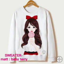 DAMAI FASHION BAJU ATASAN WANITA SWEATER CANDY CANDY White L