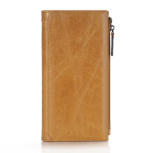 Fashionmall Men's Vintage Look Genuine Leather Long Bifold Wallet Zipper Purse Card Holders