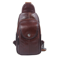 Ekphero® Genuine Leather Chest Bag First Layer Leather Leisure Retro Shoulder Crossbody Bag For Men Dark Brown