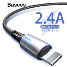 Baseus Water Droplet Light USB Cable For iPhone X Xs Max XR Charger Cable For iPhone 8 7 6 6s Plus 2.4A Fast Charging Cable