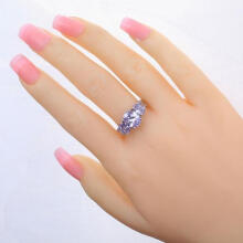 Farfi Women's Fashion Oval Light Purple Zircon Copper Engagement Jewelry Ring US 6-10