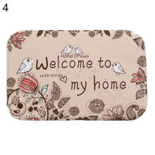Farfi Cartoon Animal Letters Pattern Anti-slip Coral Velvet Doormat Floor Mat