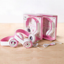 Tmax Cute Hello Kitty 3.5mm Stereo Mega Bass Headband Headphone Headset Kawaii Big Earphone With Microphone Pink