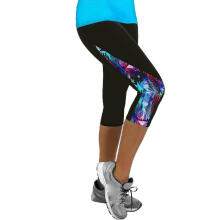 Women Ladies Floral Sports Yoga Fitness Leggings Gym 3/4 Slim Cropped Pants_Multicolor_L