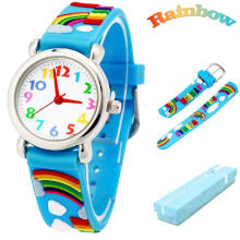 Keymao Rainbow Waterproof 3D Cute Cartoon Silicone Wristwatches Gift for Little Girls Boy Kids Children Blue