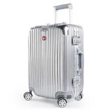 CROSSGEAR 28 inch Travel Luggage Rolling Suitcase TSA Lock ABS Material High End Aluminium Frame (Must Checked Baggage) CR-1303 Silver