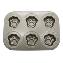 [COZIME] Carbon Steel Material Baking Tray Cute Cat Paws Shape Six-Grid Baking Tray gold