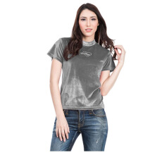 DON CLOTHING LABEL Velvet Grey Crush Top - Grey [All Size]