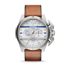 Diesel Iron Side - White Round Dial 48mm - Leather Strap - Light Brown - Chronograph - Jam Tangan Pria - DZ4365
