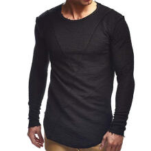 New trend spring and summer new solid color long-sleeved round neck leather irregular t-shirt-Black-XXL