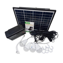 [COZIME] Solar Panel Power Storage Generator 12V LED Light USB Charger Home System Kit Black
