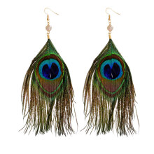 Zanzea Retro Women Earrings Peacock Green Feather Earrings
