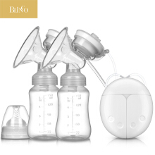 BLINGO TU09 Double electric breast pump with milk bottle baby USB bipedal BPA free powerful breast pump baby breastfeeding White