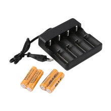 [COZIME] 4x18650 3.7V 9900mAh Protected Li-ion Battery+4 Slots Universal Stop Charger Orange