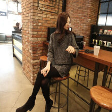 Autumn Winter Women 2PCS/SET Sweater Dress Set Knitted Pullover + Dress dark gray XL