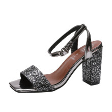 BESSKY Women Sequins Square Toe Wedges Square Heel Sandals High Heeled Shoes_