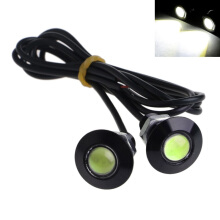 JMS - 1 Pair (2 pcs) Lampu LED Mobil / Motor Mata Elang / Eagle Eye DRL Daytime Black Housing 3W 23MM - White