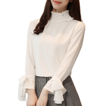 Jantens Women Shirt Fashion Chiffon Shirt Long Sleeve Bow Solid Color Ruffled Casual Women Top