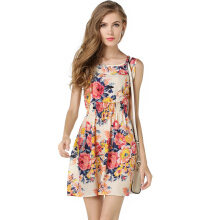 Newlan Summer Beach Dress Female O-neck Sleeveless Sling Dresses For Women Fashion Casual Colorful vestidos
