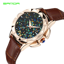 SANDA Top Ladies Luxury Women Rhinestone Watches  Leather Clock