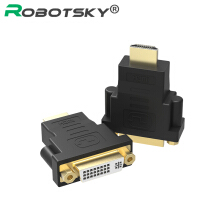 ROBOTSKY 24+5 Female Converter Gold-plated HDMI to DVI Adapter for Laptop PC PS3/4 TV STB Black