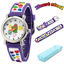 Keymao Loves Waterproof 3D Cute Cartoon Silicone Wristwatches Gift for Little Girls Boy Kids Children Purple