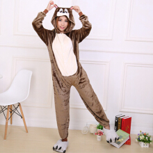 Zanzea 0051Warm Flannel Cartoon Pattern One Piece Soft Costume Pajamas Brown M