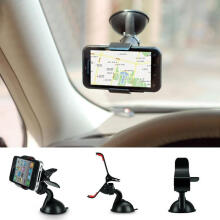 Farfi Universal 360 Degrees Rotation Car Mobile Phone GPS Sucker Holder Clip Stand Black