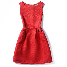 SESIBI S~2XL Women Summer Pure Color Casual Dresses Girls Princess Dress Office Lady Mini Sheath Dress -Red -