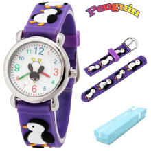 Keymao Penguin Waterproof 3D Cute Cartoon Silicone Wristwatches Gift for Little Girls Boy Kids Children Purple