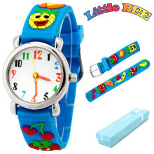 Keymao Pineapple Waterproof 3D Cute Cartoon Silicone Wristwatches Gift for Little Girls Boy Kids Children Blue