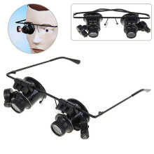 New Design Binocular Glasses Type 20X Watch Repair Magnifier with LED Light (Black)  - Black