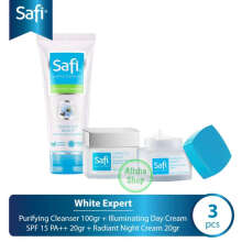 Paket SAFI White Expert ( Day Cream 20gr + Night Cream 20gr + Purifying Cleanser 100gr ) - 3 Pcs