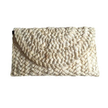 [LESHP]Women Handheld Long Style Bag Elegant Female Straw Knitted Braided Wallet Beige