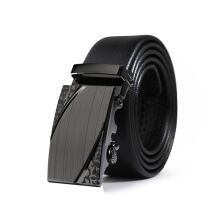 Keness Men's automatic buckle belt belt two-layer leather casual pants with wild simple belt