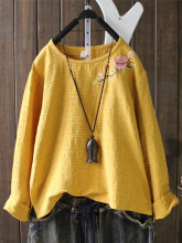 Embroidered Long Sleeve Vintage T-shirts For Women Yellow One Size